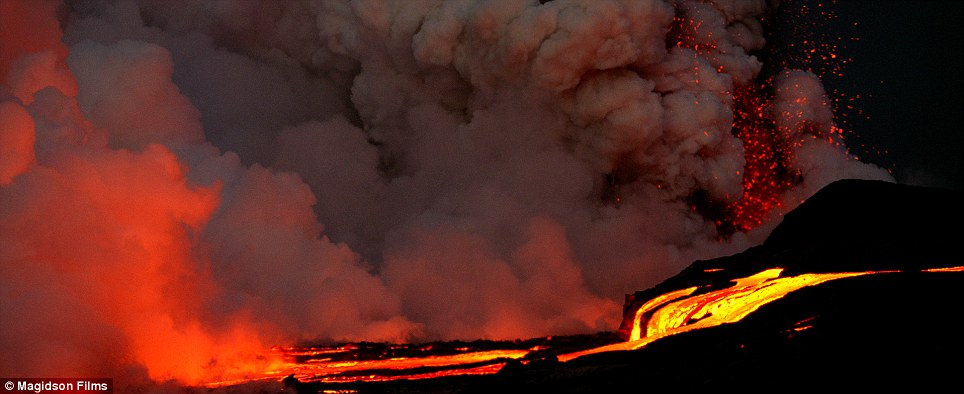 Light my fire: The film begins with a violent volcanic eruption