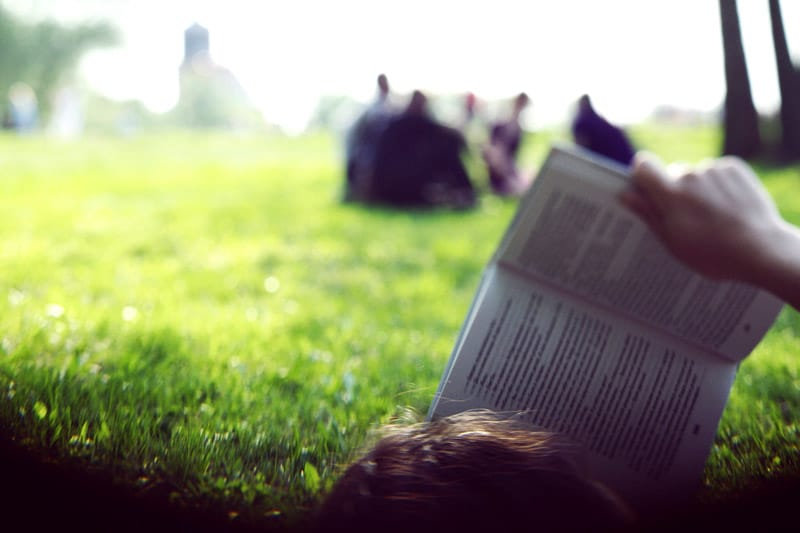 Reading book on a field